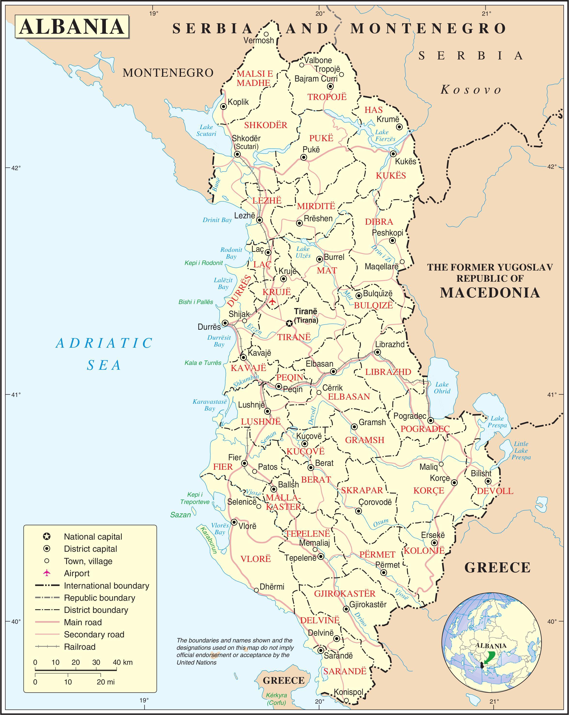 Albania Kartta Kaupungit Kartta Albanian Kaupungeissa Etela