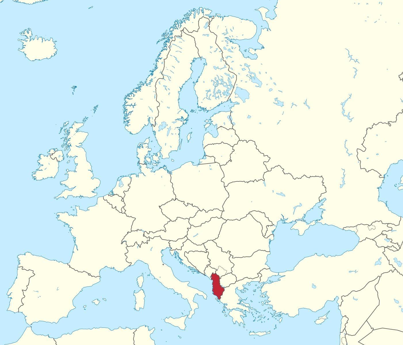 Albania On Euroopan Kartta Kartta Albanian Euroopan Etela