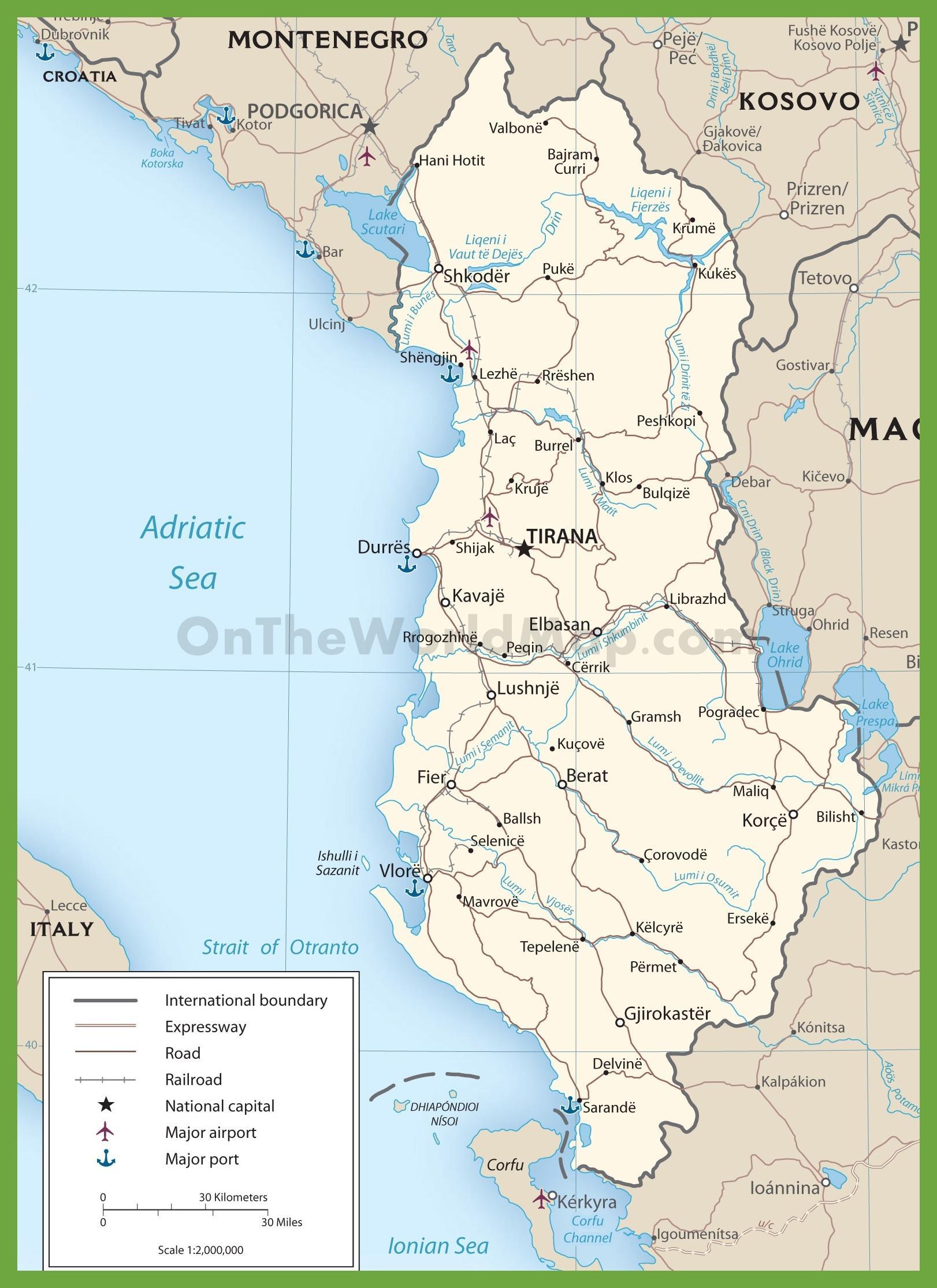 Albania Tiekartan Albanian Tiet Kartta Etela Euroopassa Eurooppa